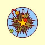Collection tirée par la main de vacances d'hiver de concept de Garland Decoration Icon Merry Christmas et de bonne année Images libres de droits