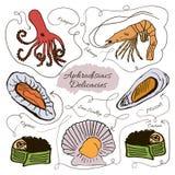 Collection tirée par la main de vecteur d'aphrodisiaques de fruits de mer illustration libre de droits