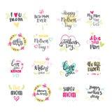 Collection tirée par la main heureuse de lettrage de jour de mères pour la carte de voeux d'isolement sur le fond blanc Photographie stock libre de droits