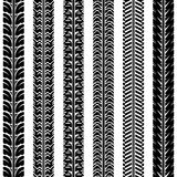 Collection tire tracks. Set of 6 pieces. Stock Image