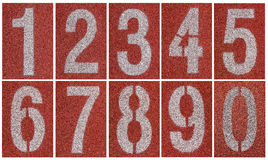 Collection of 0 to 9 ,Numbers on running track Royalty Free Stock Photo