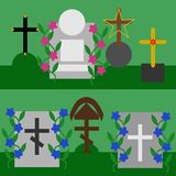Collection of tombstones and crosses Stock Photography