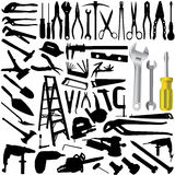 Collection of tool vector. Collection of tool silhouettes vector Stock Image