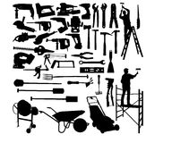Collection tools and workers Stock Photo