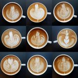 Collection of top view of  latte art coffee mugs. Stock Photo