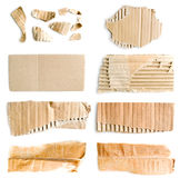 Collection of torn cardboards. Big collection of torn corrugated cardboards isolated on white background Stock Photography