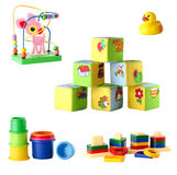 Collection of toys for young children isolated on white backgrou Stock Photos