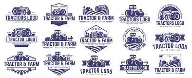 Collection of Tractor and farm logo template, vector set, vector pack. 15 vector set of Tractor logo or farm logo template collection, suitable for any business stock illustration