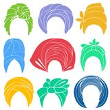 Collection. Traditional national headdress, turban. Knitted scarf. Logo, symbol, scheme. Graphic image. Set of vector stock illustration