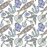 Collection of traditional Portuguese icons in seamless pattern. Stock Images