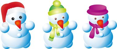 Collection of Traditional Snowman Royalty Free Stock Images
