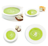 Collection of traditional spinach cream soup with croutons on a Stock Photography