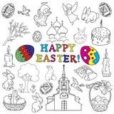 Collection traditionnelle de symboles de Pâques Image stock