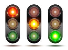 Collection of traffic lights showing the sequence of how the lig. Hts glow from red, orange and green. Isolated on white with shadow stock illustration
