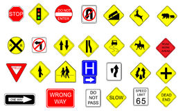Collection of Traffic Signs. Collection of 27 traffic signs. File is layered Royalty Free Stock Photo