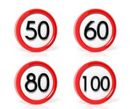 Collection of traffic signs Stock Photos