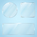 Collection of transparent glass frames Royalty Free Stock Photography