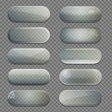 Collection of transparent glass rounded rectangle shape app buttons Stock Photo