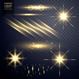 Collection of transparent lens flares light effect with twinkle. Stars Royalty Free Stock Images