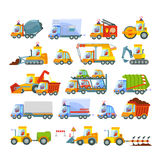 Collection of transport icons. Great set of various transport types:construction equipment,city services,agricultural machinery,cars,trucks.Icon set Stock Photo