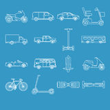 Collection of transport icons in line style Stock Image