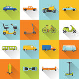 Collection of transport icons with long shadow Stock Photography