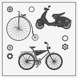 Collection of transport: old bike, modern bike and scooter. Vector illustrations for card, invitation, logos, labels and infograph. Ics. Hipster style. Vector stock illustration