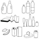 Collection of trash icon Stock Images