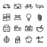 Collection travel icon set in line style. with pixel perfect royalty free illustration