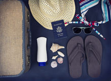 A collection of travel items Stock Photos