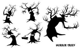 Collection of tree. Halloween evil vector illustration of collection of tree Stock Photography