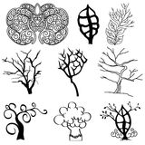 Collection of tree silhouettes Royalty Free Stock Images
