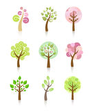 Collection of Trees. Collection of nine cute trees Stock Images