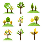 Collection of trees. Collection of nine cute trees for print or web Royalty Free Stock Photography