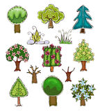 Collection of trees, grass and garden things Stock Images