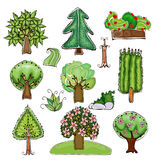 Collection of trees, grass and garden things Royalty Free Stock Photo