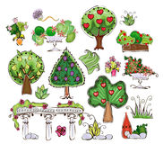 Collection of trees, grass and garden things Stock Photo
