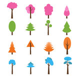 Collection of trees icons set. Seasons theme winter, spring, sum Stock Photo
