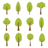 Collection of trees illustrations. Can be used to illustrate any nature or healthy lifestyle topic. royalty free illustration