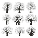 Collection of trees silhouettes Royalty Free Stock Image