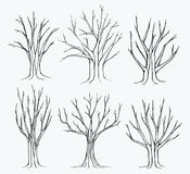 Collection of trees silhouettes Royalty Free Stock Photos