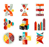 Collection of trendy colorful infographic diagram templates. Circles, squares, triangles, arrows, stripes, cubes geometrical shapes Royalty Free Stock Images
