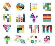Collection of trendy colorful infographic diagram templates. Circles, squares, triangles, arrows, stripes and other geometrical shapes Stock Photos