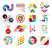 Collection of trendy colorful infographic diagram templates. Circles, squares, triangles, arrows, stripes and other geometrical shapes Royalty Free Stock Photography