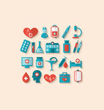 Collection trendy flat icons of medical elements and objects Royalty Free Stock Photo