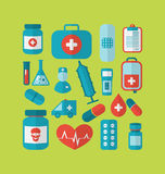 Collection trendy flat medical icons Stock Photography