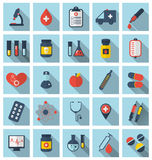 Collection trendy flat medical icons with long shadow Stock Images