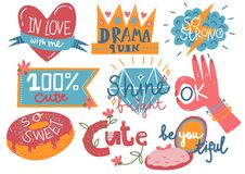 Collection of Trendy Girlish Prints, Design Elements with Inspirational Quotes Can Be Used For Greeting Cards, Badges. Labels, Invitations, Banners Vector royalty free illustration