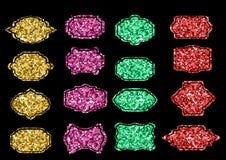 Collection of trendy gold sparkley shapes. Set sunburst design elements. Best for sale sticker, price label, sign. Stock Images