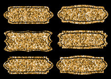 Collection of trendy gold sparkley shapes. Set sunburst design elements. Best for sale sticker, price label, sign. Royalty Free Stock Images